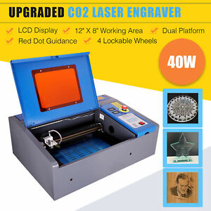 12 8 40w Co2 Laser Engraver Engraving Cutting 4 Wheels Lcd Red Dot Guidance