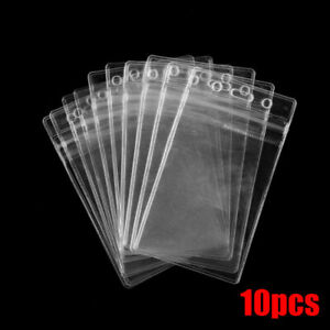 10pcs Id Card Holder Clear Plastic Badge Resealable Waterproof Business Case Pvc