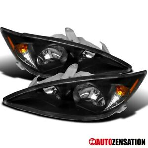 For 2002 2004 Toyota Camry Le Se Xle Sedan Black Headlights Lamps Replacement 03