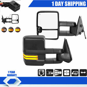 Power Led Signal Tow Mirrors Dynamic For 1999 2002 Chevy Silverado Sierra Heated