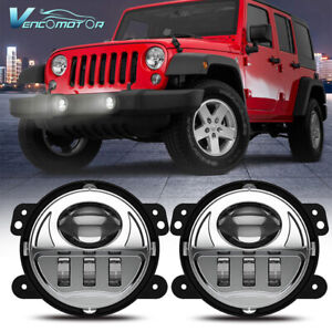 Pair 4 Round Led Fog Lights Driving Lamps Fit For Jeep Wrangler 97 17 Jk Tj Lj