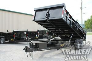 New 7 X 16 14k Gvwr Hydraulic Power Up Down Dump Trailer Equipment Hauler