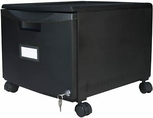 Plastic 1 drawer Mobile File Cabinet All steel Lock And Key Black