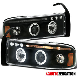 For 1994 2001 Dodge Ram 1500 Black Led Strip Halo Projector Headlights Lamps
