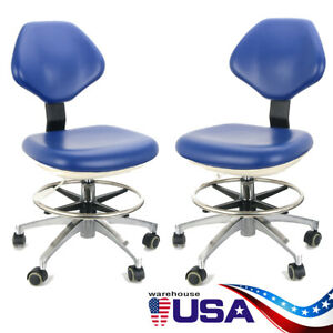 2pcs Adjustable Mobile Dental Stool Chair Examination Chairs Backrest Pu Leather