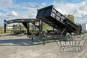 New 7 X 16 14k Gvwr Full Power Hydraulic Gooseneck Dump Trailer Equipment Hauler