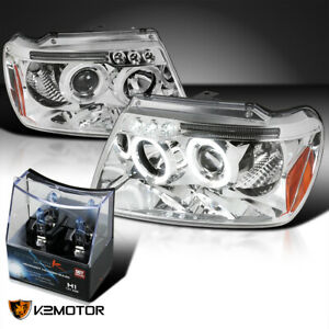 For 1999 2004 Jeep Grand Cherokee Clear Led Halo Projector Headlights H1 Bulbs
