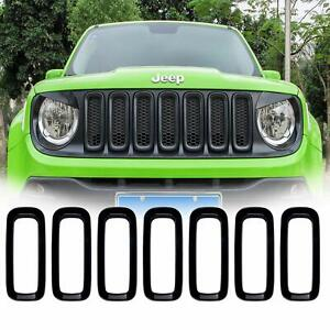 7pcs Front Grill Grille Inserts Guard Abs Cover Trim For Jeep Renegade 2015 2018