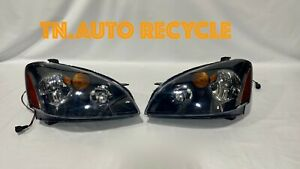 For 2002 2004 Nissan Altima Black Headlights Head Lamps Left Right Pair Like New