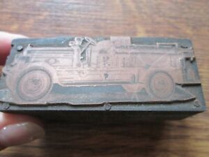 Vintage Printing Letterpress Printer s Block Early Fire Engine Copper Face