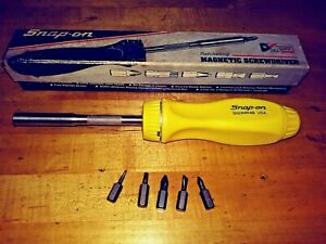 New Snap On Yellow Hard Handle Ratcheting Screw Driver Nos