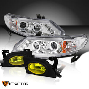 Fits 2006 2008 Honda Civic Clear Led Halo Projector Headlights Yellow Fog Lamps