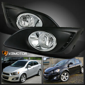 2012 2016 Chevy Sonic aveo Clear Bumper Fog Lights Driving Lamps W bulbs cover