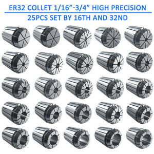 Er32 Collet 25pcs Set 1 16 3 4 By 16th And 32nd Industrial Grade Accurate Usa