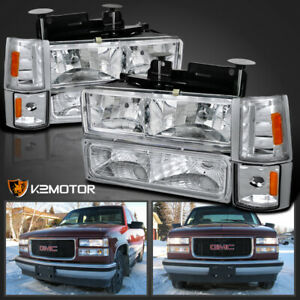 For 94 98 Gmc C k Sierra Suburban Yukon Headlights corner bumper Lights Lamps