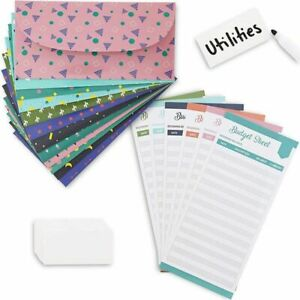 36x Colorful Budget Envelopes With Sheets 12 Assorted Designs 6 75 X 3 25 Inch