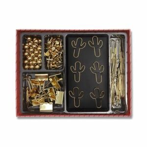 126x Gold Cactus Small Paper Clips And Binder Clips Set Mini Push Pins Office