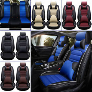 11pcs Car Seat Cover Cushion Protector Front Rear Full Set Pu Leather Interior