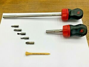 Snap On Tools Usa Red Soft Grip Stubby Ratcheting Screwdriver Lot Set Sgdmrc1a