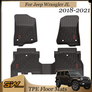 3w Liner Floor Mats For Jeep Wrangler Jl 2018 2021 Front Rear 2 Rows Red Logo