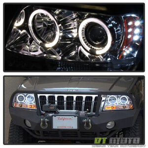 1999 2004 Jeep Grand Cherokee 2x Halo Led Projector Headlights Left Right 99 04