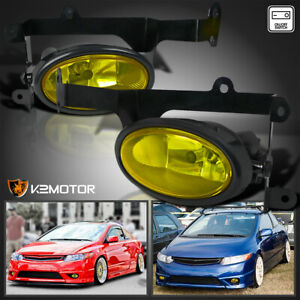 For 2006 2008 Honda Civic 2dr Coupe Yellow Bumper Fog Lights Lamps switch Pair