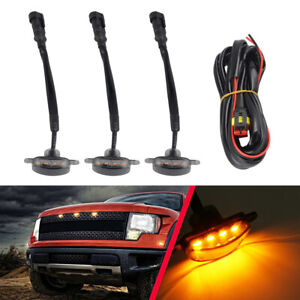 3x Smoked Lens Amber Led Front Grille Running Lights Lamps For Ford F 150 Raptor