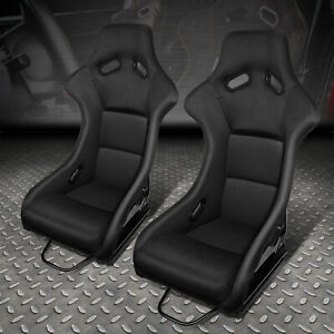 Pair Of Universal Black Fabric Fixed Position Racing Bucket Seat slider brackets