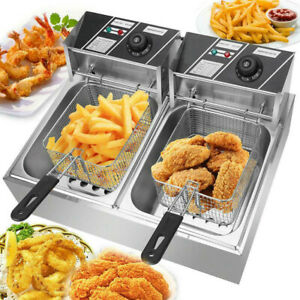 Stainless Steel Dual Tank Commercial Stainsteel Electric Deep Fryer 1700w 3400w