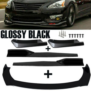 Glossy Black Car Front Bumper Lip Spoiler Rear Side Skirt Splitter Universal Kit