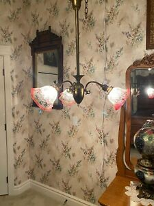 Antique Three Arm Brass Hanging Lamp Light With Antique Shades