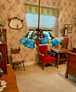 Antique Four Arm Brass Hanging Lamp Light With Antique Shades