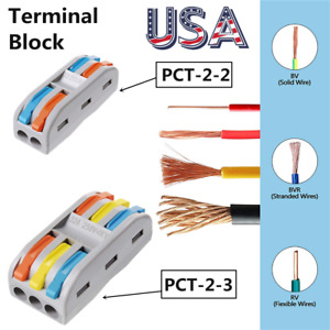 2 3 way Spring Lever Terminal Block Electrical Cable Wire Connector Quick Splice