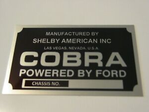 Engine Plaque Or Dash Emblem Plate Shelby Cobra Mustang Brushed Aluminum