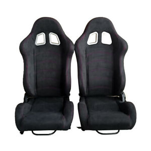 Pair Racing Seats Reclinable Single Adjuster 2 Slider Sport Bucket Suede Leather