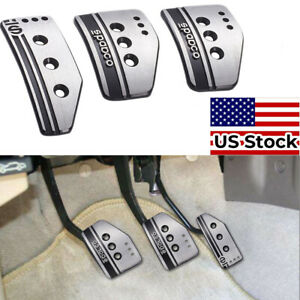 Universal Stainless Steel Foot Pedal Kit For Manual Vehicle Non Slip Pedal Pads