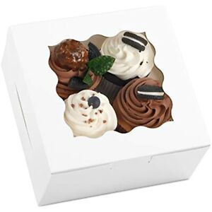 White Cookie Boxes 6x6x3 Inches 20pcs With Window Bakery Pastry Cupcake amp