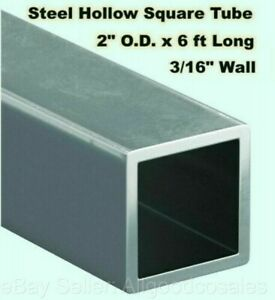 Steel Square Tube Hollow 2 O d X 6 Ft Long 3 16 Wall Carbon 1015 Alloy