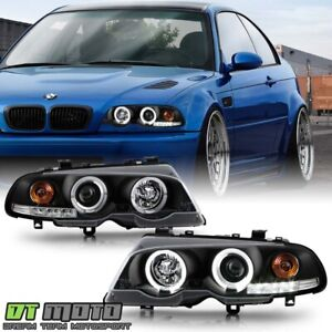 Black 2000 2003 Bmw E46 3 series Coupe Halo Projector Led Headlights Lamps Set