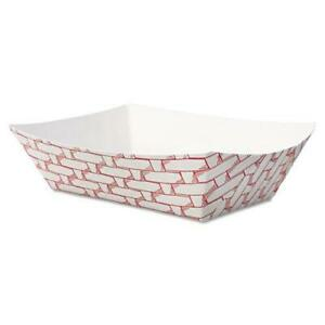 Paper Food Baskets Trays 1 2 Lb Capacity Red white carton Of 1000