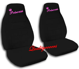 Universal Size Front Set Car Seat Covers Black With Hot Pink Princess Design