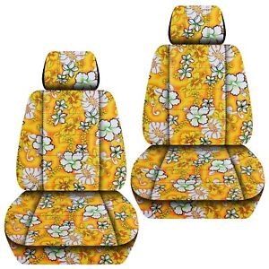 Front Set Car Seat Covers Fits 2000 2019 Subaru Outback Hawaill Yellow Flower