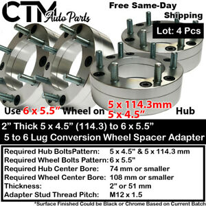4pc 2 Thick 5x4 5 5x115 To 6x5 5 Convertion Wheel Adapter Spacer 12x1 5 Model