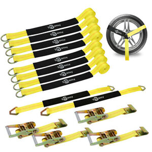 Set Of 4 Tow Dolly Straps Tires Strap W Hook Heavy Duty Car Tie Down Strap Usa