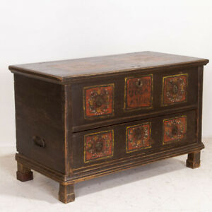Antique Original Large Painted Trunk With Drawer Dated 1870