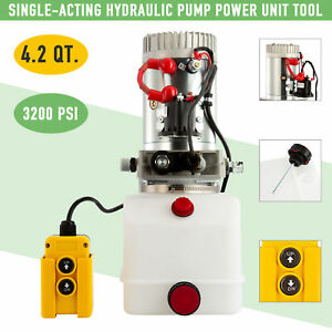 Hydraulic Pump 12volt Single acting 4 Quart For Wood Splitter Dump Bed Tow Plow
