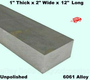 Aluminum Bar Flat Stock 1 X 2 X 1 Ft Mil Finish Alloy 6061 12 Length