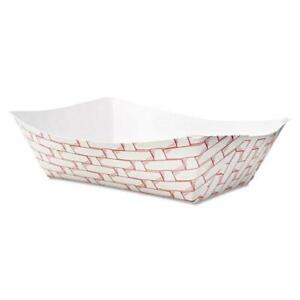 Paper Food Baskets Trays 3lb Capacity Red white carton Of 500