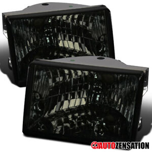 Fits 1993 1998 Jeep Grand Cherokee Smoke Lens Headlights Lamps Left Right Pair
