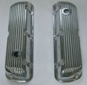 Short Ford Sbf 289 302 351w Finned Polished Aluminum Valve Covers Factory 2nds